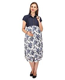 MomToBe Short Sleeves Floral Maternity Dress - Blue White