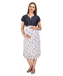 MomToBe Short Sleeves Maternity Dress Floral Print - Blue White