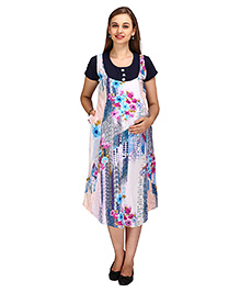 MomToBe Short Sleeves Printed Maternity Dress - Navy Blue