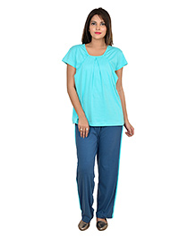 9teenAGAIN Half Sleeves Nursing Night Suit - Teal Turquoise