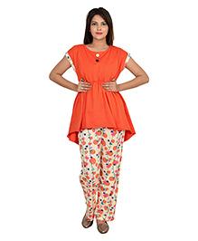 9teenAGAIN Half Sleeves Nursing Night Suit - Orange