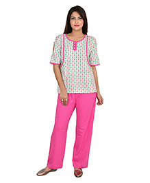 9teenAGAIN Half Sleeves Nursing Night Suit - Green Pink