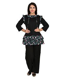 9teenAGAIN Three Fourth Sleeves Nursing Night Suit - Black