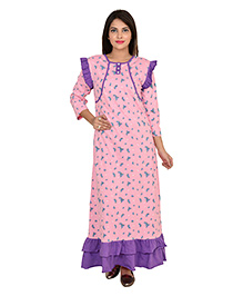 9teenAGAIN Full Sleeves Nursing Nighty Watermelon Print - Pink