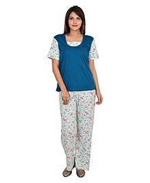 9teenAGAIN Half Sleeves Nursing Night Suit - Teal
