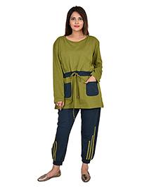 9teenAGAIN Half Sleeves Nursing Night Suit - Green Blue