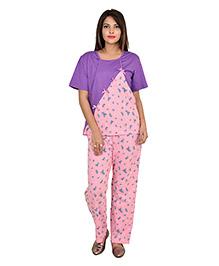 9teenAGAIN Half Sleeves Watermelon Print Nursing Night Suit - Baby Pink & Violet