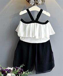 Pre Order - Awabox Cold Shoulder Top & Shorts - White & Black