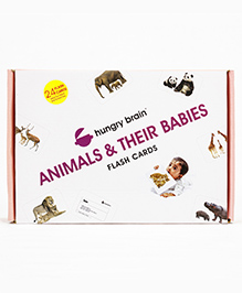 Hungry Brain Animal & Their Babies Flash Cards - Multi Color
