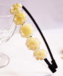 Little Tresses Flowers On Black Ribbon Covered Hairband - Black & White
