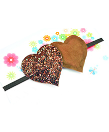 Little Tresses Twin Glittery Hearts Soft Stretchable Headband - Brown