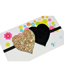 Little Tresses Twin Glittery Hearts Soft Stretchable Headband - Black & Gold