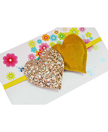 Little Tresses Twin Glittery Hearts Soft Stretchable Headband - Mustard & Gold