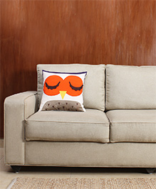 HouseThis The Prowl Qwl Pure Cotton Cushion Cover - White & Orange