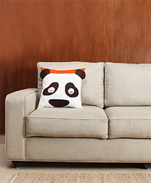 HouseThis The Funtoosh Panda Pure Cotton Cushion Cover - White Brown & Orange