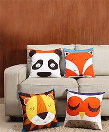 HouseThis The Jungle Book Pure Cotton Set Of 4 Cushion Covers - White Orange & Yellow