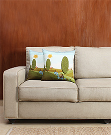 HouseThis The Sleepy Summer Pure Cotton Set Of 2 Cushion Covers - White & Green