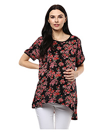 Wobbly Walk Half Sleeves Maternity T-Shirts Floral Print - Black