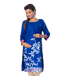 Kriti Three Fourth Sleeves Maternity Nursing Kurti - Royal Blue