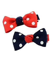 Angel Closet Girls Polka Dots Print Bow Knot Clips Pack Of 2 - Red & Blue