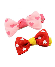 Angel Closet Girls Heart Print Bow Knot Clips Pack Of 2 - Red & Pink