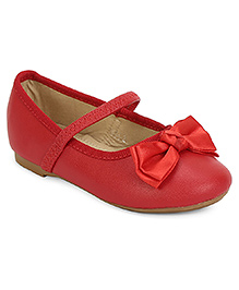 My Lil Berry Mary Jane Bellies With Bow Applique - Red