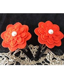 Kalacaree Flower With Pearl Design Hair Clips - Orange
