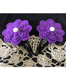 Kalacaree Flower With Pearl Design Hair Clips - Dark Purple