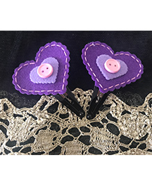 Kalacaree Heart & Button Design Hair Clips -Purple