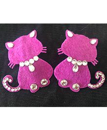 Kalacaree Kitten With Kundan Work Hair Clips - Dark Pink