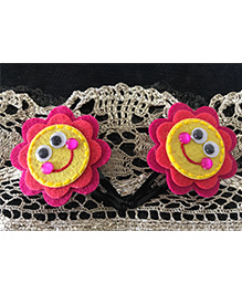 Kalacaree Smiley Design Hair Clips - Dark Pink & Yellow