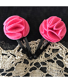 Kalacaree Flower Design Hair Clips - Pink