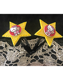 Kalacaree Star & Kitty Design Hair Clips - Yellow