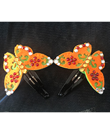 Kalacaree Butterfly With Kundan Work Hair Clips - Orange