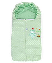 Montaly Baby Dotted Sleeping Bag Bear Embroidery - Green