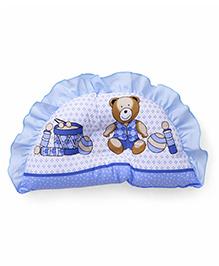 Frilled Semi Circular Baby Pillow Teddy & Musical Instrument Print - Blue