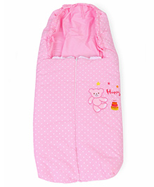 Bear Embroidery Baby Sleeping Bag - Pink