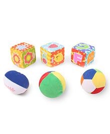 Baby Soft Ball & Cubes Pack Of 3 Multi Print - Multi Color