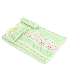 Baby Bed Set With Pillow And Bolster Bunny Print - Light Green