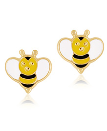 Gempetit 18 KT Yellow Gold Earrings Bee Design - Yellow