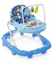 Musical Baby Walker With Play Tray And Hanging Toys - Blue
