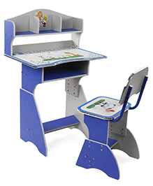 Kids Study Table With Chair Bear And Giraffe Print - Blue