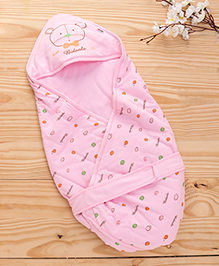 Baby Hooded Wrapper Teddy Bear Print - Pink