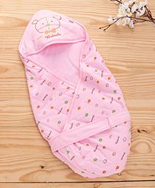 Baby Hooded Wrapper Teddy Bear Print - Pink
