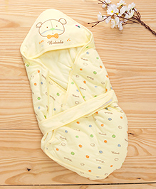 Baby Hooded Wrapper Teddy Bear Print - Yellow