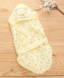 Baby Hooded Wrapper Teddy Bear Print - Yellow