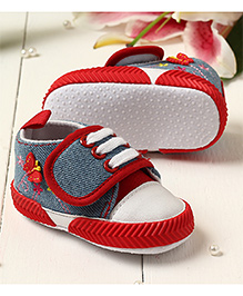 LCL By Walkinlifestyle Booties Velcro Closure Butterfly Motif & Floral Embroidery - Red