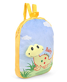 Dimpy Stuff Soft Nursery Bag With Dino Print Yellow Blue - 14 Inch