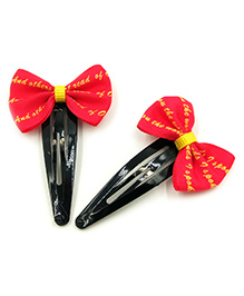 Magic Needles Tic Tac Hair Clips With Bow Set Of 2 - Red & Yellow