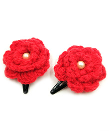 Magic Needles Tic Tac Hair Clips With Flower Set Of 2 - Red - 1549552